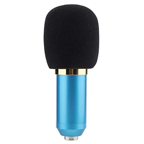Hakeeta BM800 Wired Capacitance Microphone, condensatormicrofoonkit online karaoke-live-opnamemicrofoon voor radio- en thuisstudio-opnames met demper en sponsbal, blauw