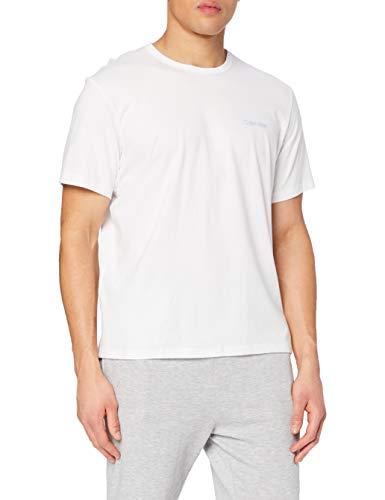 Calvin Klein S/s Crew Neck Top de Pijama, Blanco (White W/Blue Bay Logo BA6), M para Hombre