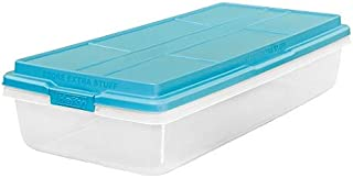 Hefty Clear Latch Box, Teal Sachet Lid and Handles (63-Quart)