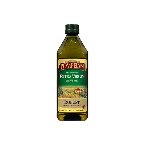 Pompeian Robust Extra Virgin Olive Oil, First Cold Pressed, Full-Bodied Flavor, Perfect for Salad Dressings and Marinades, Naturally Gluten Free, Non-Allergenic, Non-GMO, 24 FL. OZ., Single Bottle