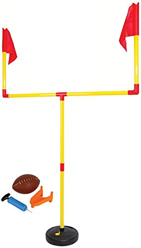 Kids Football Goal Post Set – Easy Assembly Kicking Tee - Goal Post 4'x6' Feet with Weighted Base – All in One Youth Outdoor Game Football Set