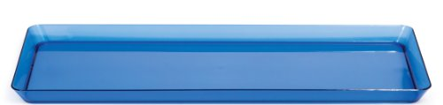 Creative Converting Rectangle Plastic Serving Tray, 15.5-Inch, Translucent Blue