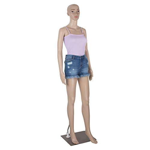 69 Inch Female Mannequin Full Body Realistic Adjustable Mannequin Display Head Turns Dress Form with Metal Base