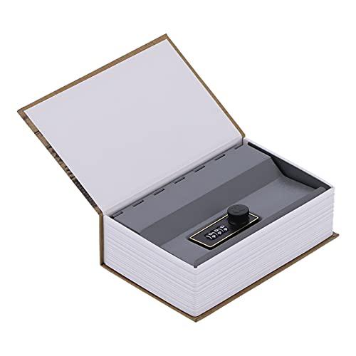 Shanrya Caja Fuerte para Libros, 18x11,6x5,5 cm Caja para Libros de Dinero con Forro de Acero Inoxidable para Monedas Documentos Joyas para Almacenamiento Cosas Importantes