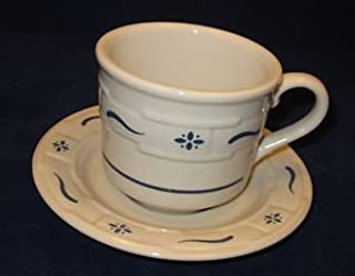 Longaberger Pottery Woven Traditions Cup & Saucer - blue