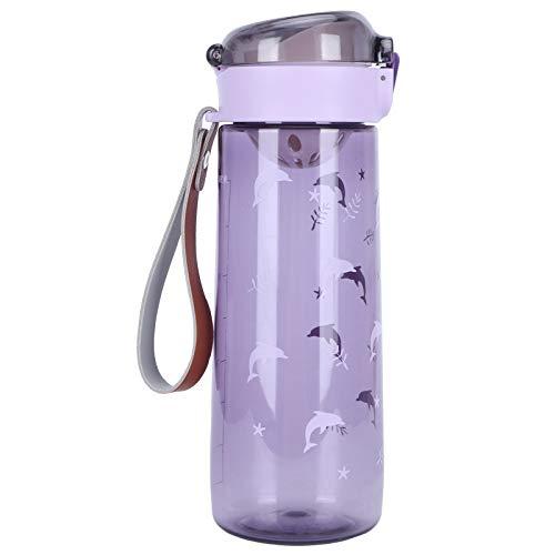 Taza de rebote con tapa, a prueba de fugas 7.5X2.6X2.6Inch Taza de agua de plástico resistente(SL7016A Deep Purple, 480ml)