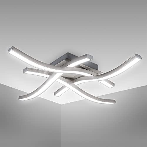 B.K.Licht I Lámpara de techo LED I lámpara de techo I 4.000K blanco neutro I 20 Watt I 2.000 Lumen I óptica de aluminio I blanco acrílico I ondulado I curvado I 425x425x70mm