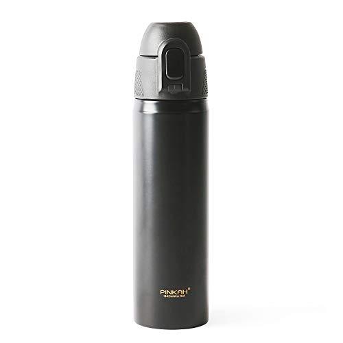 MEIGIX Stainless Steel Mug Travel Coffee Mug Spill Proof with Straw, 17oz, PJ-3565 (Black) ¡