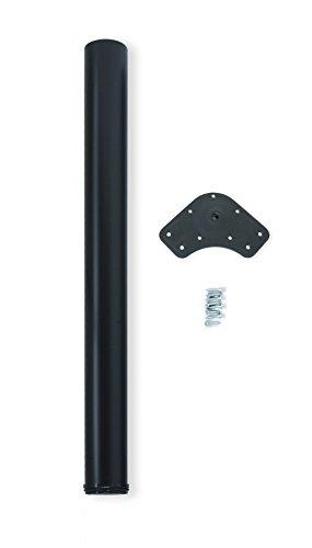 Emuca - Gamba regolabile per tavolo Ø60x870mm, kit di 1 piede per tavolo in acciaio, altezza regolabile 870-890mm, nero