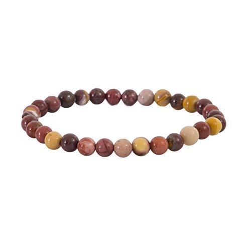 Garaulion - Pulsera de piedras naturales para mujer y hombre, pulsera de piedra preciosa, 6 mm, bolsa de almacenamiento, varias opciones disponibles [Satisfit o reMBurse] (Jaspe Mokaite)