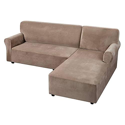 WLVG Funda de sofá elástica de Terciopelo Funda de sofá en Forma de L de 2 Fundas Funda de sofá de Esquina Antideslizante Fundas de sofá Fundas de sofá Suaves Protector de Muebles-Taupe-3 plazas