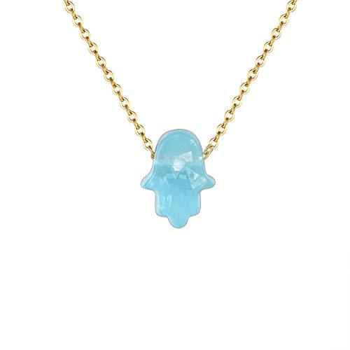 Karisma Damen Edelstahl Gold Collier Anhänger Kette - Halskette Opal Fatimas Hand Hamsa - YLK105.leicht.Grün