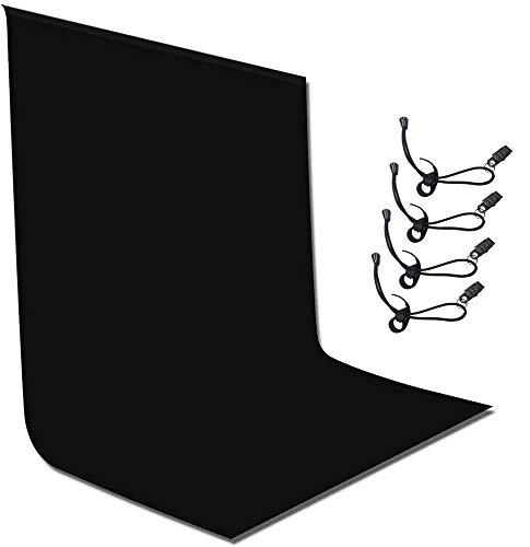 Ibalulu Fotografie Hintergrund Schwarz 3 x 2 m mit 4 Hintergrund-Stoffclips, Schwarzer Musselin Hintergrund Bildschirm für Foto-Video-Studio