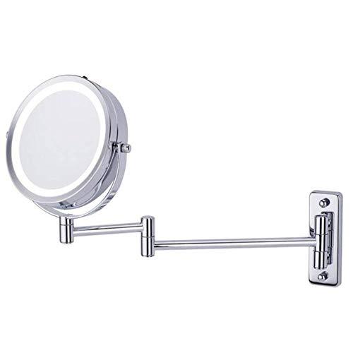 ZNDDB Kosmetikspiegel Wandmontage mit LED-Leuchten, klappbar, (5-fache Vergrößerung) schminkspiegel