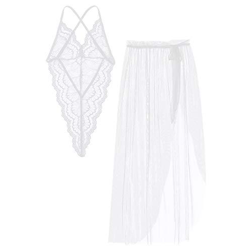 Yeahdor Damen Sexy Erotische Nachtwäsche Dessous Set Transparent Body Overall mit Maxi Asymmetrisch Rock Verführerische Unterwäsche Hochzeitsnacht Weiß One Size