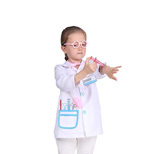 Doctor Lab Coat Role Play Costume Pretend Play Jacket for Kids Girls,Doctor Dress Up Outfit for Birthday Gift(7-8years)
