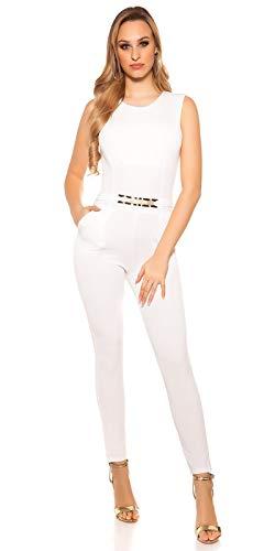 Koucla Damen Overall Jumpsuit Playsuit mit Schnalle (Weiß, XS)