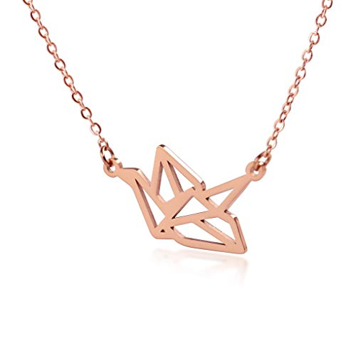 "HANFLY Paper cranes Necklace Jewelry for Women Origami jewelry 16.5""+1.5"" Extender (Pink)"