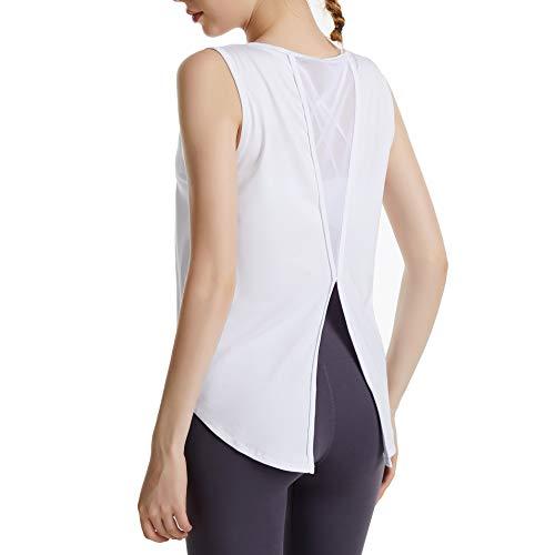 SotRong Chaleco de ejercicios de espalda abierta para mujer, yoga, cuello redondo, entrenamiento, sin mangas, pilates, sexy, correr, deporte, gimnasio, tops