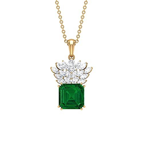 Juego de collar y pendientes de corona de 6,50 CT con esmeralda y diamante marquesa (8 mm, talla Asscher, esmeralda creada), 14K Oro amarillo Sin cadena