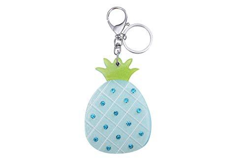 Llavero de frutas de piña con espejo original, accesorio para bolso de coche, regalo ideal, azul (Azul) - .