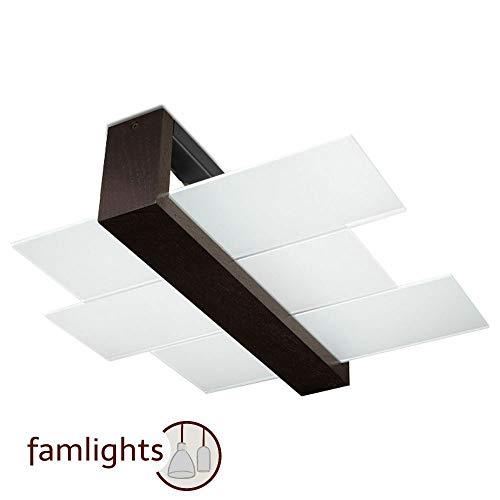 famlights Deckenleuchte Andrea aus Glas in Weiß, dunklem Holz | Deckenlampe modern Wohnzimmer-Lampe Schlafzimmer-Leuchte Flur-Leuchte Treppenhaus Eingangsbereich Esszimmer-Lampe Deckenstrahler E27