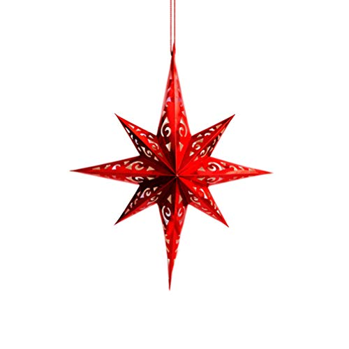 Amosfun - Pantalla de lámpara de papel 3D con forma de estrella para Navidad, fiesta de Navidad, boda, talla S, color plateado