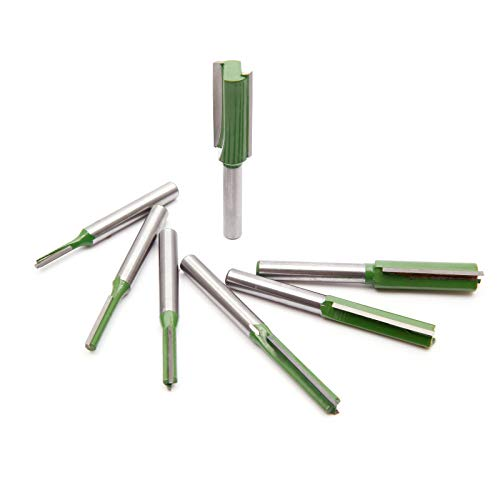 Anladia 7 teiliges 6mm Schaft Fräser Set, 3mm 4mm 5mm 6mm 8mm 10mm 12mm Holzfräser Router Bit Gerade Nutfräser Set für Holzbearbeitung