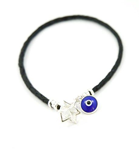 La Kabbale Rouge Chaîne Charm Hamsa EVIL EYE STAR David Silver Sterling Bracelet 925