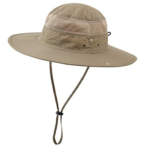 Connectyle Outdoor Mesh Sun Hat Wide Brim Sun Protection Hat Summer Fishing Hunting Hiking Gardenig Hat Dark Khaki