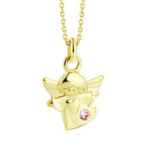 fish Bambina oro Collana 8k Angelo con Protezione Pendente Swarovski Elements Rosa Lunghezza Regolabile Regalo del Bambino