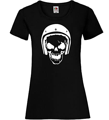 Shirt84.de - Camiseta de manga corta para mujer con diseño de calavera y casco Negro XS