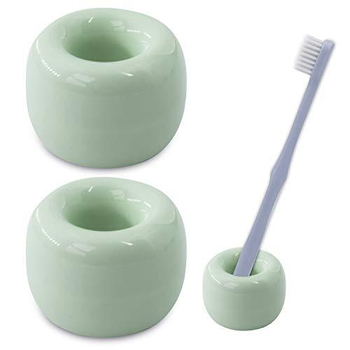 Airmoon Mini Ceramics Handmade Couple Toothbrush Holder Stand for Bathroom Vanity Countertops, Bright Green, Pack of 2