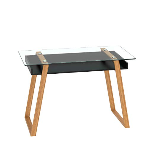 bonVIVO Massimo Glass and Bamboo Home Office Writing Desk, White