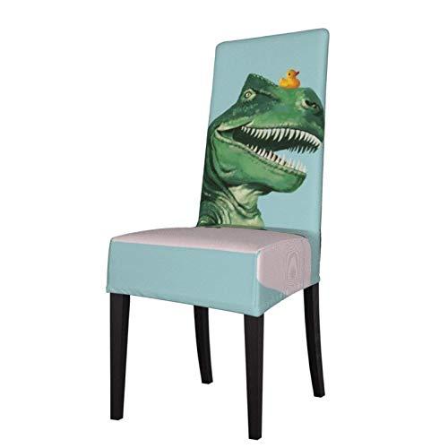 Fundas elásticas para silla para comedor, diseño de T Rex en la bañera, color verde, lavable, para decoración de Navidad, ceremonias, banquetes, bodas, fiestas, comedores.