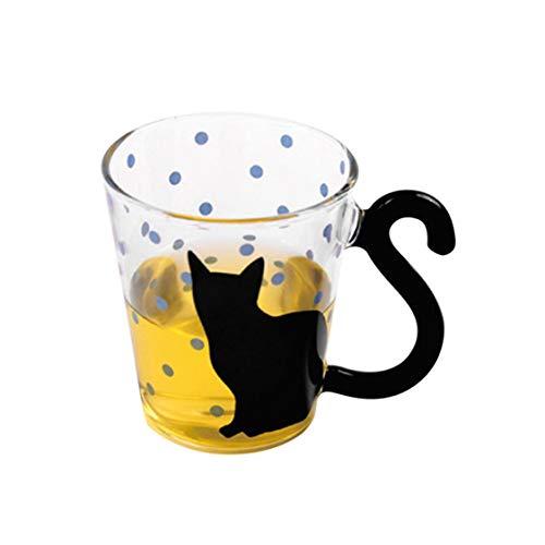 Tazza di Vetro del Gatto del Gattino innovatore Sveglio Tazza di tè Tazza di caffè del Latte Tazza di Punti Tazza del Ministero degli Interni con Manico Regalo Meraviglioso - Multicolore