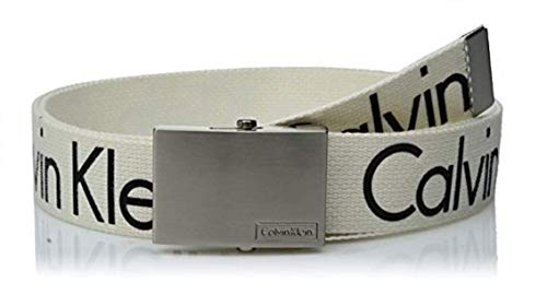 Calvin Klein Men's 38mm Printed Web Belt with Logo, White, L
