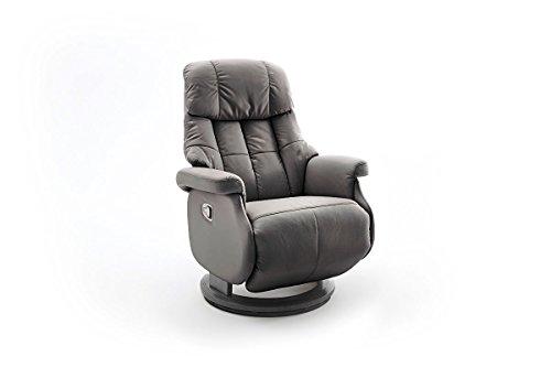 lifestyle4living Relaxsessel in Braun Grau, Echtleder, Gestell 360° drehbar Natur Schwarz   Perfekter Sessel für entspannte Fernseh-Abende