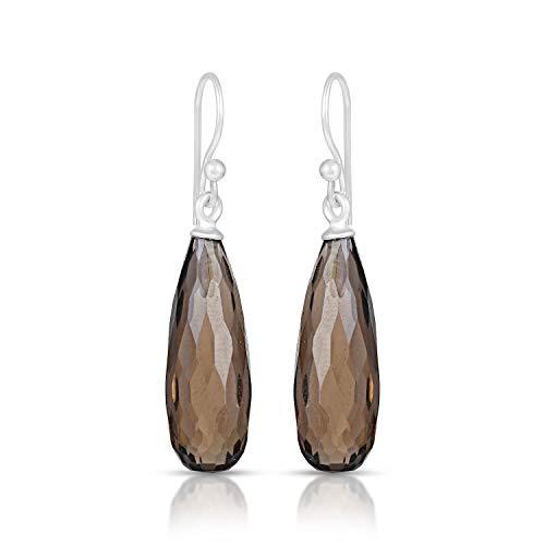 925 Sterling Silver Smokey Quartz Drop Earrings, Smokey Quartz Earrings, Quartz Crystal Earrings, Women's Earrings, Long Drop Earrings, Smokey Quartz Dangle Earrings For Her