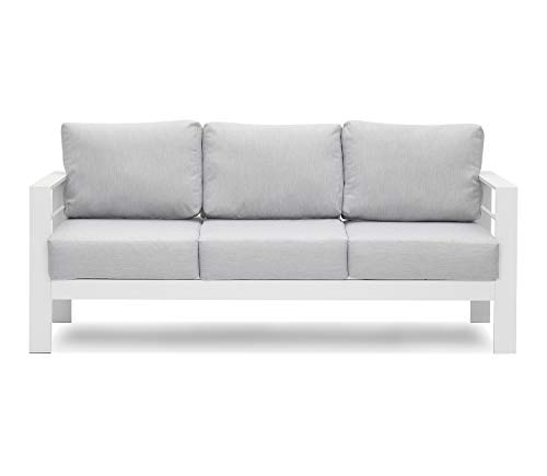 Solaste Patio Furniture Metal Couch, 3-Seat All-Weather Contemporary Aluminum Outdoor Sofa Chair with Cushions, Light Grey