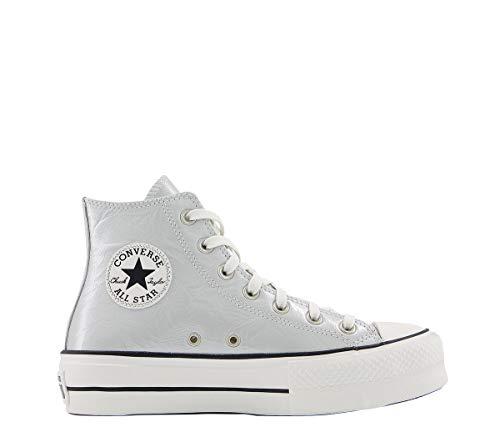 Converse Chuck Taylor All Star Lift Metallic Classics Hi Plateado/Negro (Silver/Black) Tela 38 EU