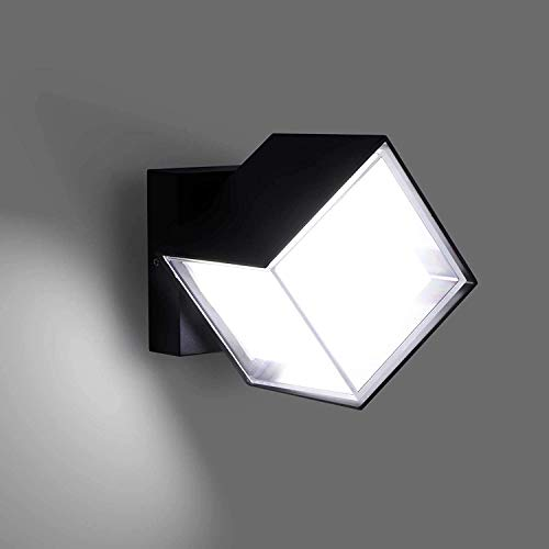 Lightess 12W Außenleuchte LED Wandleuchte Aussen 360 ° Drehung Außenlampe Kaltweiss Wand Außenwandleuchte Wandlampe Wasserdicht IP66 Außenbeleuchtung Alu für Außenbreich Outdoor Wall light