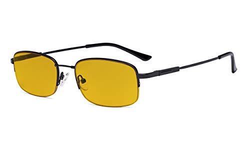 Eyekepper Computer Brillen Herren Damen - Blaulichtblockierung Lesebrille mit bernsteinfarbener Filtergläser - Memory Titanium Brille - Halbrand,schwarz+1.25
