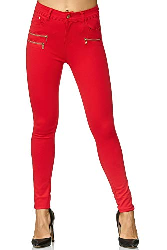 Elara Damen Stretch Hose Skinny Fit Jegging Chunkyrayan H86-10 Rot 38 (M)