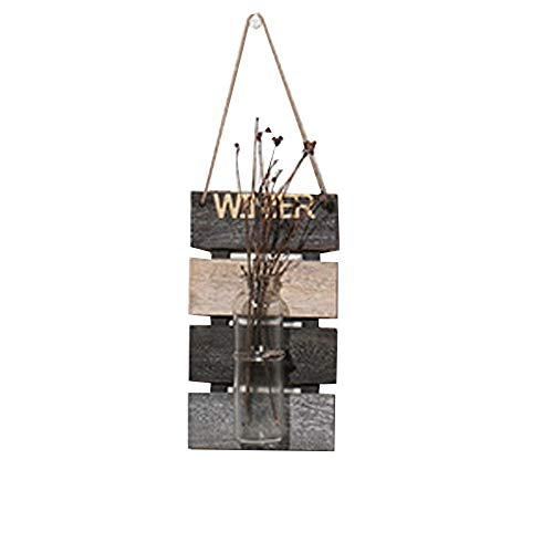 Szetosy - Vaso idroponico da appendere, decorazione da parete con assi di lagno per appendere piante, fiori e vasi in vetro, per casa, giardino, salotto, bar, 30 x 17 cm Inverno