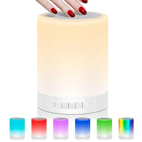 Nachttischlampe Stimmungslicht mit Bluetooth Lautsprecher, USB Wiederaufladbar Smart Touch Control Nachtlicht Musik Spielen RGB-Farbwechsel TF-Karte Tischlampe für Schlafzimmer Kinder Geschenk (3W)