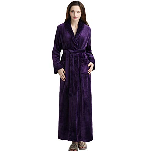YKJL Womens Lounge Pyjamas Robe Frottier Cotton Bademantel Damen Winter-Bademantel mit Schaltuch Bad Wrap Nachtwäsche,Lila,M