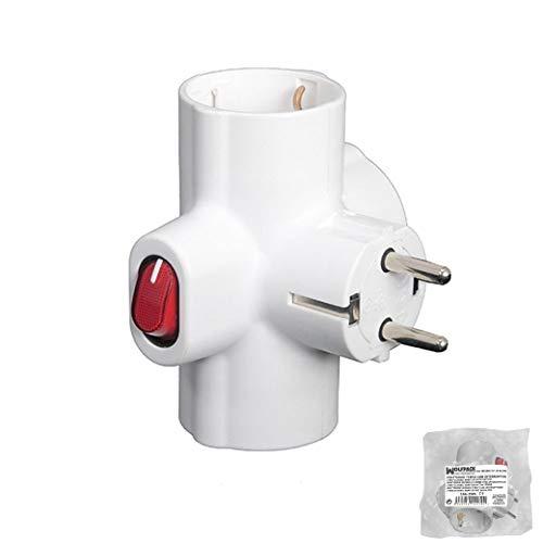 Wolpack 19110047 - Adaptador Triple Schuko 16 A 250v Con Interruptor.