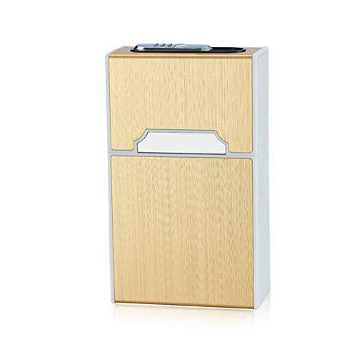 2-in-1 Metall Zigarettenetui mit Feuerzeug Elektronisch Elegante Entwurf Metall Zigarettenbox Mit Elektronisches Feuerzeug Aufladbar (Zigarette frei) (Gold)