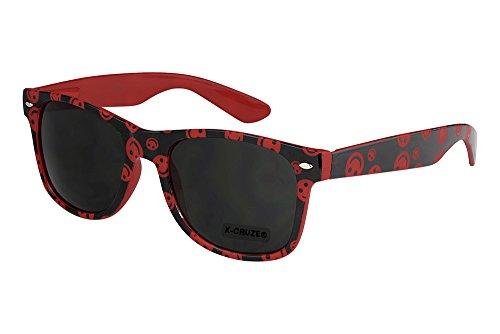 X-CRUZE® 8-071 X22 Nerd Sonnenbrille Style Stil Retro Vintage Retro Unisex Herren Damen Männer Frauen Brille Nerdbrille - Smilies rot/schwarz